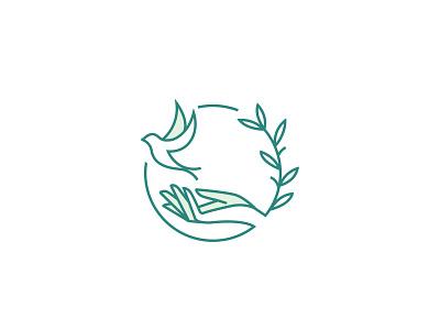 PRVD Logo minimalist logo hand bird logo help logo prvd green lineart logo flat logo leaf logo bird logo provide logo hand logo wisdom logo non profit logo peace charity logo freedom brand identity logodesign logo branding
