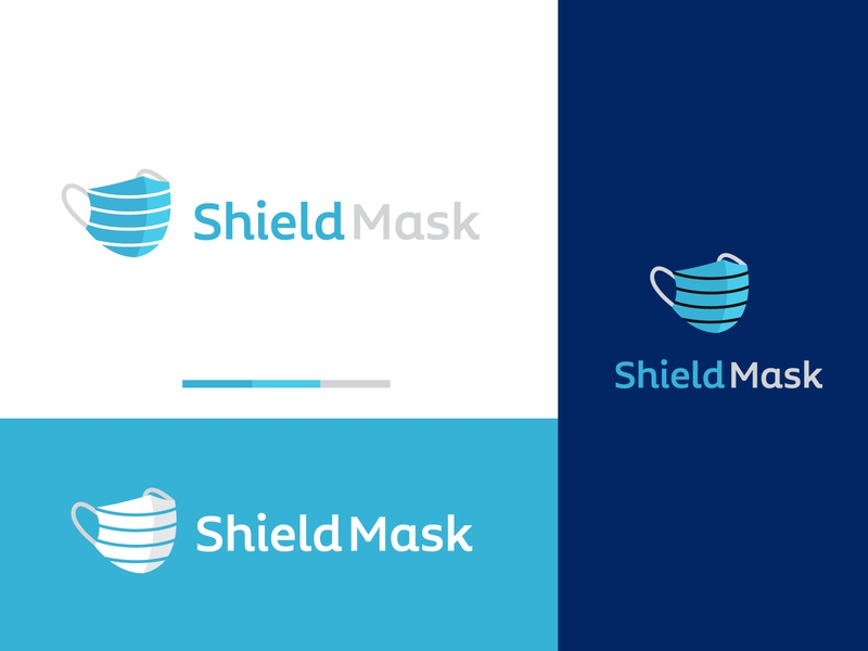 Shield Mask startup logo tech logo branding flat logo modern logo app icon app logo health medical blue n95 mask covid 19 logo covid mask logo surgical mask logo shield logo shield mask logo mask logo musk mask