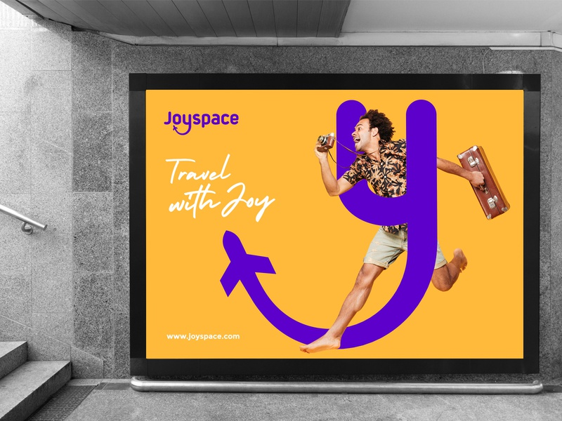Joyspace Subway Advertising advertising icon purple yellow modern logo identitydesign travel company branding travel app tourism company branding tourism logo brand identity design logo design branding logo applications app logo billboard subway sign subway mockup y logo