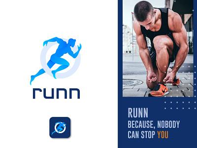 RUNN Logo fitness app logo fitness logo workout logo running app logo speed logo run logo gradient logo icon logotype blue tech logo modern logo app logo branding agency logo brand identity logodesign branding