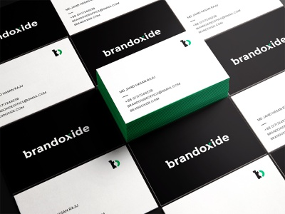 brandoxide businss card design agency branding branding agency modern logo branding brand identity presentation green black business card designer stationery design brand elements o logo b logo bo logo oxide brandoxide visiting card design business card design