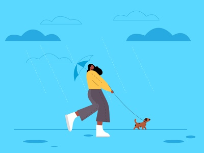 Dog Walking Illustration modern illustration flat illustration branding agency rainly day illustration illustration concept app illustration girl walking with dog illustration girl walking dog illustration dog walking dog