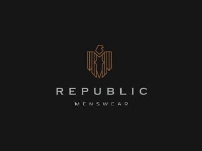 Republic Menswear brand identity design luxury branding luxury logo logotype logo design inspiration r logo tan black bold logo wisdom logo freedom logo fashion logo watch brand logo lifestyle brand apparael mens brand logo eagle logo republic logo