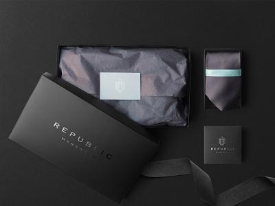 Republic Menswear Packaging luxury design black lebel luxury logo luxury brand fashion brand mens brand mens fashion identitydesign branding agency brand identity logo design branding logodesign packagaing