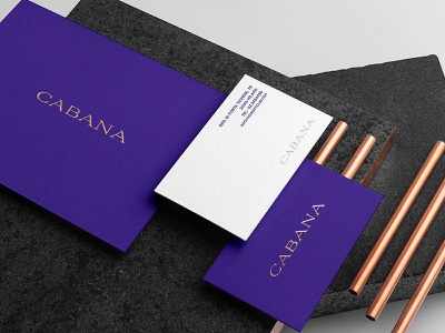 Cabana - Business Card, Invitation Card foiling brand strategy art direction creative business card design resort branding luxury resort luxury resturant luxury spa center luxury hotel branding hotel branding cabana