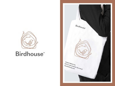 Birdhouse logo clothing branding apparel branding bootique house logo textile logo womens apparel logo home logo tan color clothing line logo apparel logo mens fashion logo fashion line logo bird home logo bird logo birdhouse