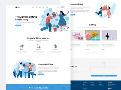 Giftly Landing Page Concept gifting website ui designer website designer web design illustration minimal website design branding agency website design agency website development website design one pager uxdesign uidesign landingpage landing page design giftly