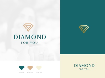 Diamond for you branding logodesign app logo diamond ring jwelry logo modern logo aristrocatic logo tan green 4 diamond logo luxury logo ornaments logo ornaments shop logo diamond logo diamond