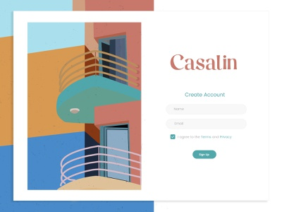 Casalin Logo and Illustration logodesign modern design create account form ui design form design real estate illustration real estate app real estate logo mexican home mexican building spanish style building spanish house home illustration illustration typographic logo
