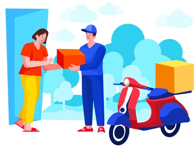 Deliver Illustration modern illustration blue orange red app illustration curier company illustration parcel service illustration parcel illustration food delivery illustration home delivery illustration curier illustration delivery app illustration website illustration web illustration colorful illustration flat illustration illustration