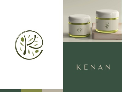 Kenan - Herbal Hair Product Logo and Packaging hair and beauty logo cosmetics brand brand identity olive and leaf logo branding agency branding creative logo natural logo olive logo label design logo design herbal hair oil branding packaging design