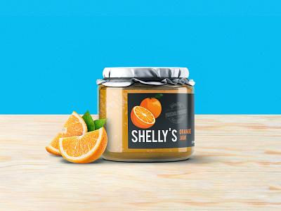 Shelly's Jam - Packaging / Label Design food branding food packaging jelly packaging design jelly orange orange jam label design brand identity design branding agency logodesign branding logo jam label design jar mock up jam label design packaging design