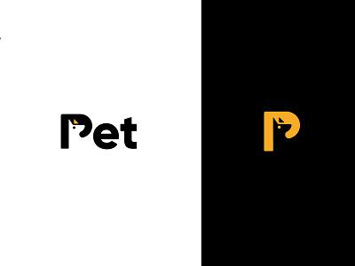 Pet - Dog Care  Logo a c d e f g h p dog logo p logo app logo black yellow dog e commerce dog logo dog care logo pet love pet logo illustration brand identity logo branding agency modern logo logodesign branding