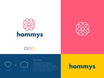 Hommys modern houses love home love app logo app icons app icon branding agency brand identity branding sweet home logo logodesign modernlogo homeloan loan realestate house home