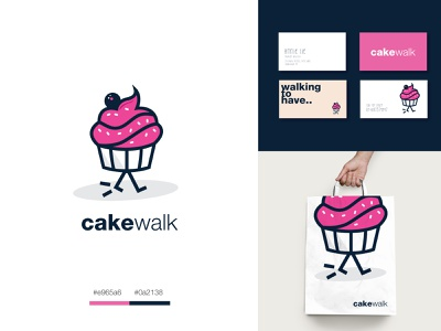 Cake Walk donut cake shop walk logo ui identitydesign brandidentity branding businesscarddesign businesscard logodesign graphicdesign creative design playful logo cakelogo cake logo