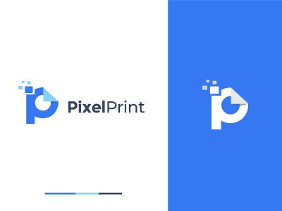 Pixelprint Logo Exploration tech logo modernlogo ui logotype brand identity branding brand print company logo data logo print data blue logo logodesign pixel logo pixel art pixel