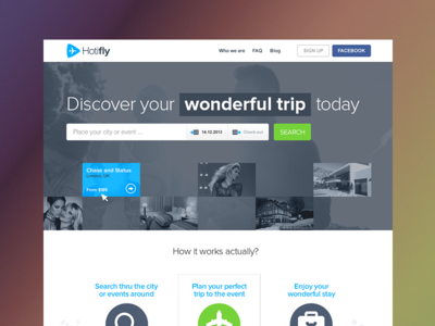 Hotifly HP concept hotifly hotels trip travel events simple