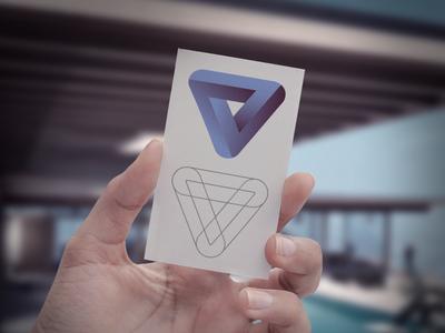 New identity kick-off logo identity triangle blue purple concept