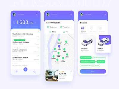 Banking App for busine$$ trip planning airline hotel clean web mobile business transfer cars app illustration ux ui grid graphicdesign minimal design
