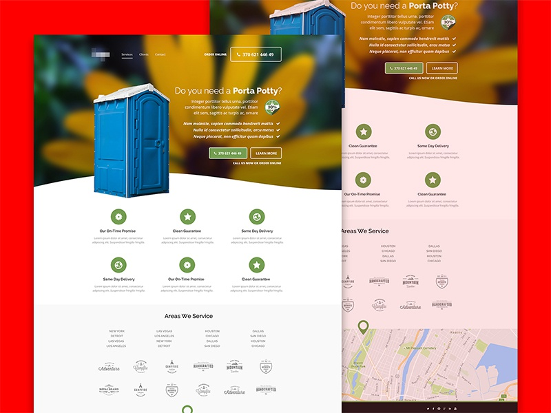 Porta potty one pager simple porta potty home page landing page one pager
