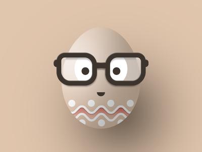 Happy Easter! smile character face pantone natural glasses nerd cute egg easter