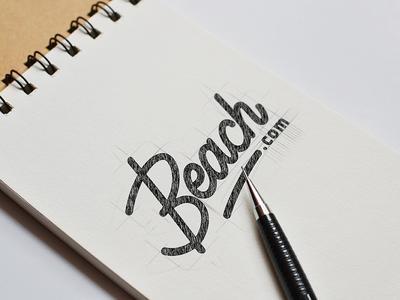 Monoline Lettering typography summer beach wip concept sketch monoline wordmark logo