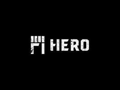 Hero strong symbol minimal graphic h power fist gaming grunge hero logo