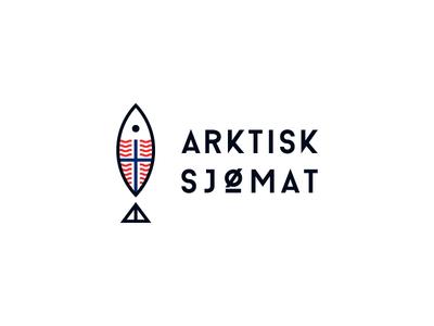 Arktisk Sjømat Logo food seafood sea north arctic nordic norway fish minimal graphic logo