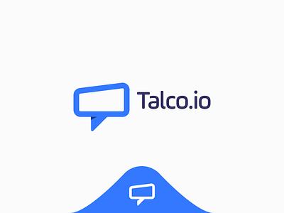 Talco Logo branding t tech modern for sale app social speak chat blue talco logo