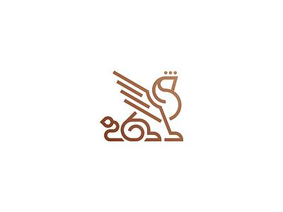Gate 65™ 65 lion minimal graphic design elegant royal sphinx griffon griffin logo