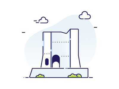 Krusevac Fortress landmark outline blue city town medieval fortress graphic minimal illustration vector defence tower