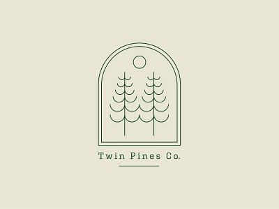 Twin Pines Co. vancouver island pnw badge minimal monoline branding vector logo caribou creative laura prpich