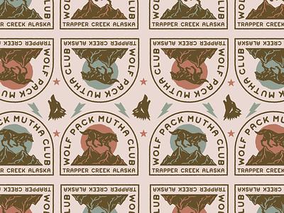 Wolf Pack vintage badge illustration branding vector logo caribou creative laura prpich