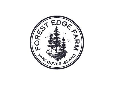 Forest Edge Farm Logo distressed island trees vancouver island nature pnw vintage illustration badge vector logo caribou creative laura prpich
