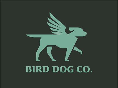 Bird Dog Co. wings pointer dog bird minimal branding vector logo caribou creative laura prpich