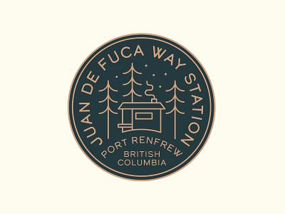 Juan de Fuca Way Station Logo forest log cabin camping vancouver island pnw monoline badge branding vector logo caribou creative laura prpich