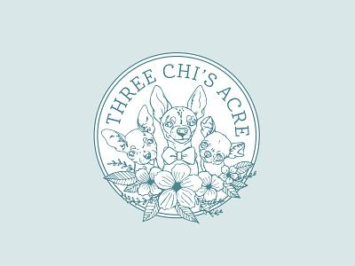 Three Chi's Acre dog chihuahua flowers florist illustration badge vector logo laura prpich caribou creative caribou crea