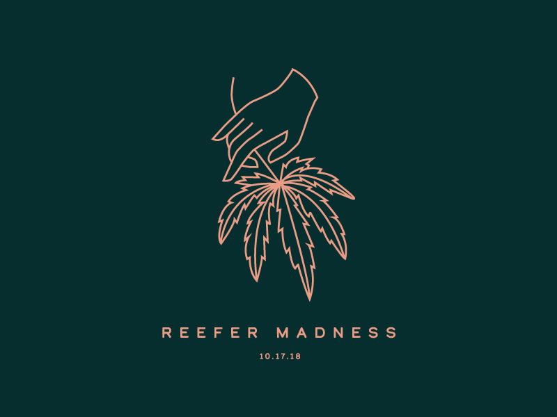 Reefer Madness laura prpich cannabis marijuana weed reefer minimal monoline logo