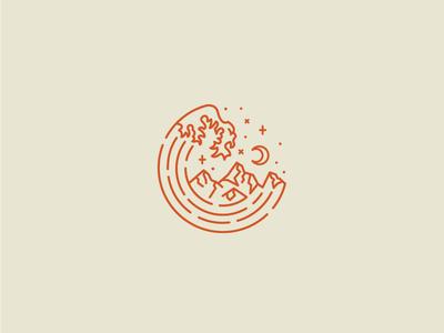 Monogram Logo mountains waves monogram nature badge minimal caribou creative logo laura prpich