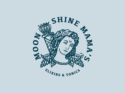 Moonshine Mama's Elixirs & Tonics vintage warrior mama tonic elixir organic juice design branding vector badge illustration caribou creative logo laura prpich