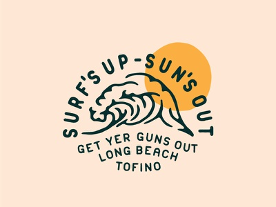 Surf's Up Tee Graphic vancouver island tofino beach waves surfing surf vector badge branding illustration caribou creative logo laura prpich