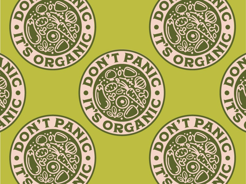 Don't Panic, It's Organic Badge vintage retro vegetables organic badge vector branding caribou creative logo laura prpich