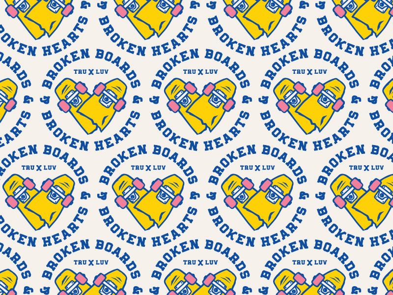 Broken Boards & Broken Hearts skateboard vintage badge illustration vector caribou creative logo laura prpich