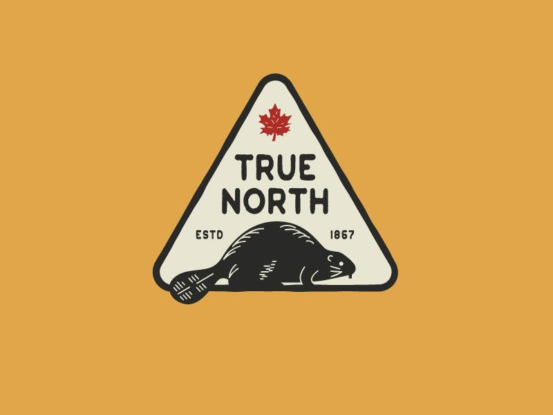 True North maple leaf canada beaver badge illustration vector logo caribou creative laura prpich