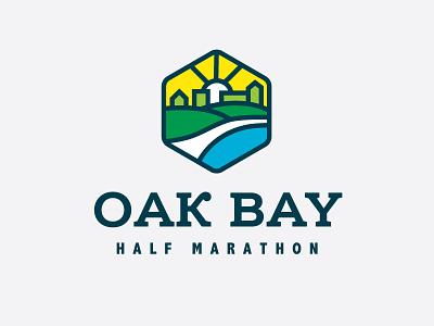 Oak Bay Half Marathon event runner running explore nature marathon vancouver island badge monoline branding vector logo caribou creative laura prpich
