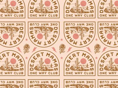 Desert Mamas cactus desert vintage badge illustration branding vector logo caribou creative laura prpich