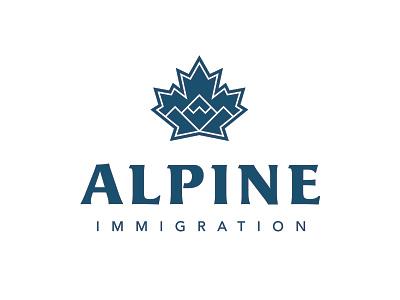 Alpine Immigration outdoors nature mountains maple leaf canada pnw monoline minimal branding vector logo caribou creative laura prpich