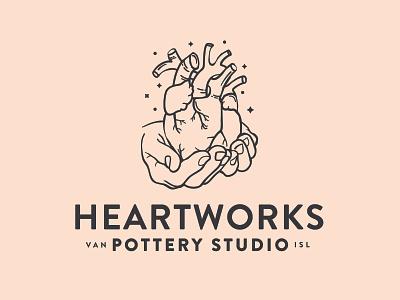 Heartworks Pottery alchemy heart pottery illustration branding vector logo caribou creative laura prpich