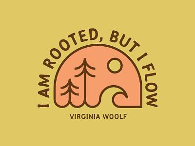 VirginiaWoolf yoga quote trees waves pnw nature badge monoline minimal illustration vector logo caribou creative laura prpich