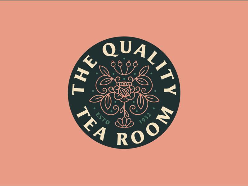 Quality Tea Room restaurant filigree tea badge monoline branding vector logo caribou creative laura prpich